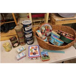 Lot of Assorted Tins in A Wicker Basket