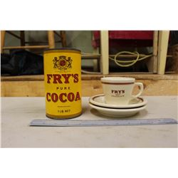 Vintage Fry's Cocoa Tin & A Cup w/Saucers (2)