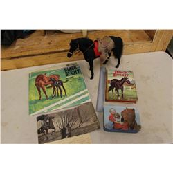 Vintage Black Beauty Records & Book & Toy Horse, Tin Container w/Crayons