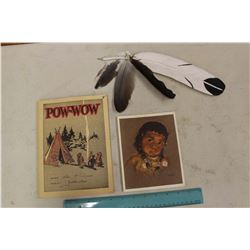 Antique Indian Wood Feather, Pow-Wow Note Book & Card
