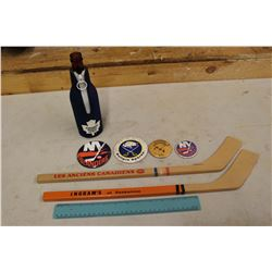 Vintage Hockey Related: Mini Wooden Hockey Sticks, Pins, Beer Cover