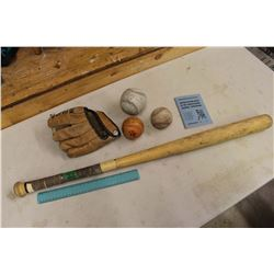 Vintage Baseball Related: Children Glove, Balls, A Bat, Etc
