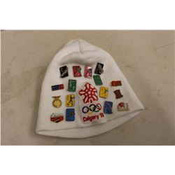 Calgary 1988 Winter Olympic Games Toque w/Olympic Metal Lapel Pins