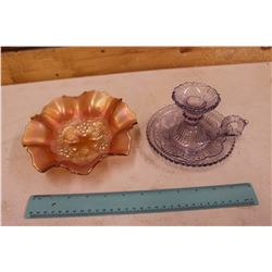 Purple Depression Glass Candle Holder & Carnival Glass Dish (No Chips or Cracks on Both)