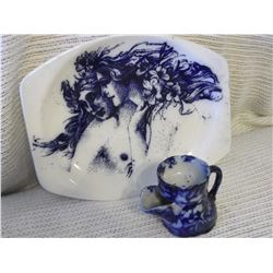 Flow Blue Platter & Shaving Mug- Meakin, England (No Chips or Cracks)