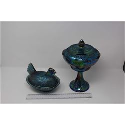 Pair Of Carnival Glass (Hen in Nest, Small Chip And Candy Dish)