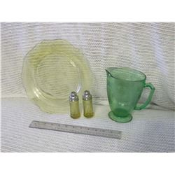 Depression Glass Pitcher, Plate and Salt & Pepper Shakers