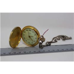 Swiss hunter Case Pocket Watch W/ Chain