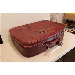 Vintage Red Suitcase, W/ Doll Crib