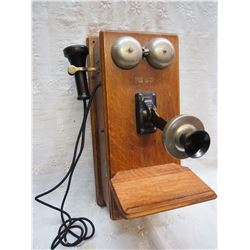 Vintage Long Box Northern Electric Oak Wall Phone