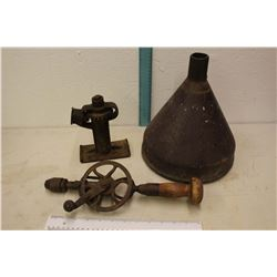 Vintage Tools: Cast Iron Funnel, Hand Drill, Etc