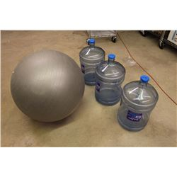 Large Water Jugs (3)& A Exercise Ball