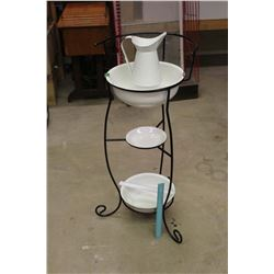 Vintage Wash Stand- Metal Frame w/Enamel Buckets & Water Pitcher