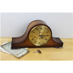 West Germany Ergo Key Wind Mechanical Chime Mantle Clock W/ Key, Working Condition
