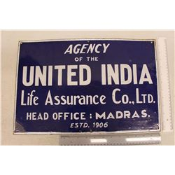 Agency of the United India Life Insurance Co.,Ltd. Porcelain Sign