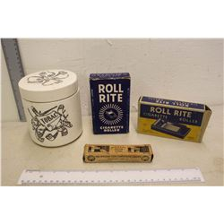 Vintage Roll Rite Cigarette Rollers (2), Tobacco Container & A Canco Opener Box