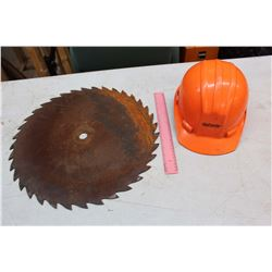 Orange Hard Hat & A Saw Blade