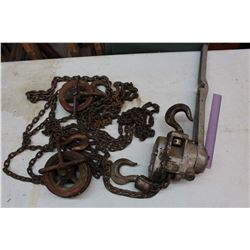 Chain Hoists: (3) 1.5 Ton Chain Hoist, A .5 Ton Pulley, ETC