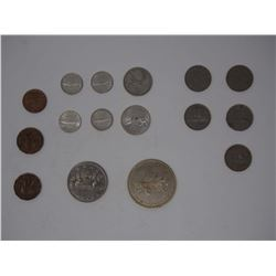 Lot OF Vintage Coins Canadian 1751-1975, animal faced, & Western Development Museum Coin (1910)