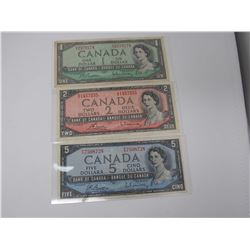 1954 Canadian $1, $2, $5 Bank Notes