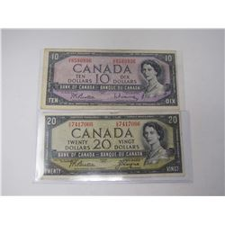 1954 Canadian $10 & $20 Bank Notes