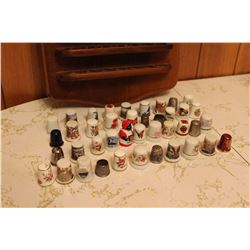 Lot Of Vintage Thimbles And Wall Display (display doesn't fit most of the thimbles)