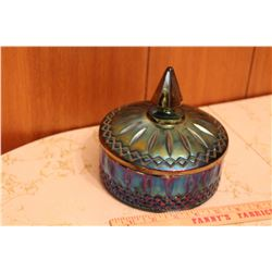 Vintage Iridescent Blue Candy Dish W/ Lid