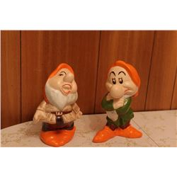 Vintage Ceramic Snow White Dwarves, marked Sneezy and Grumpy, Walt Disney