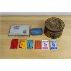 Lot Vintage Rolling Papers And Tins