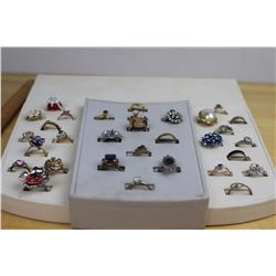 Lot Costume Jewellery Rings And Display