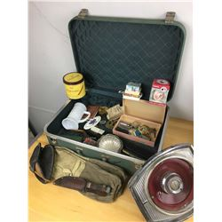 Vintage Suitcase W/ Misc Items, Lighters, Knives, Ball Glove And More