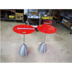"""Pair Of Retro End Tables 24"""" Tall"""