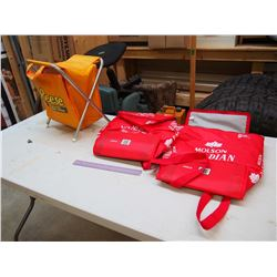 Lot Of Advertisement Related (Molson Softside Drink Cooler Bags (2) And Reese Promotional Camp Stool