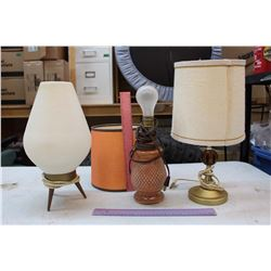 Vintage Lamps w/Shades (3)