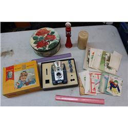 Vintage Misc: Brownie Flash 20 Outfit, Gas Pump Avon Bottle, Tin Rose Container, Etc