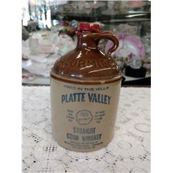 MCCORMICK WHISKEY JUG, PLATTE VALLEY, STRAIGHT CORN WHISKEY