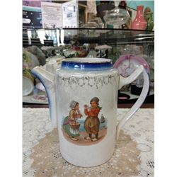 ANTIQUE IRONSTONE COFFEE/CHOCOLATE POT WITH DUTCH CHILDREN TRANSFER