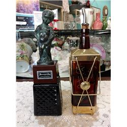 TWO VINTAGE LIQUOR DISPENSERS, ONE GLASS MUSICAL, ONE MANNEQUIN BOY