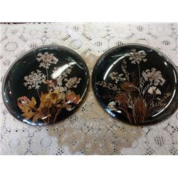 SET OF 2 ANTIQUE WALL HANGERS WITH CURVED GLASS, NATURAL DRIED QUEEN ANNES LACE AND OTHER FLORAL