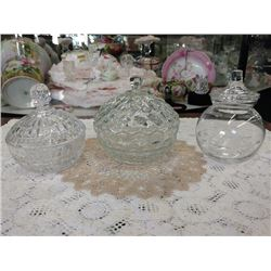VINTAGE GLASS CANDY DISHES WITH LIDS, LOT OF 3, CLEAR PRESSED  GLASS CRYSTAL