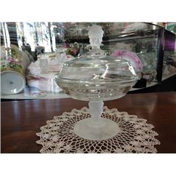 "VINTAGE GLASS COMPOTE WITH LID, ""THREE FACES"" BY  LG WRIGHT CO."