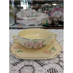 VINTAGE AMERICAN  CHINA CREAM SOUP SET, CUP AND UNDERPLATE