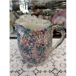 POTTERY WHITE CLAY PITCHER WITH BLUE AND PINK SPONGEWARE GLAZE