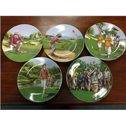 LOT OF 5 GOLF PLATES BY PHILIPPE DESHOULIERES, LIMOGES, FRANCE