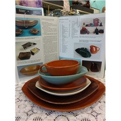 L0T OF MIDCENTURY ROSEVILLE POTTERY, RAYMOR MODERN STONEWARE 6 PC PLACE SETTING