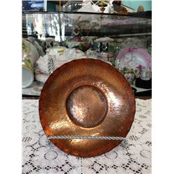 VINTAGE COPPER HANDCRAFTED HAMMERED BOWL BY C.E. BACKUS, BURTON, WA