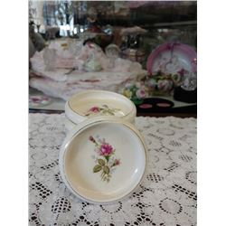 "SET OF SIX VINTAGE CHINA COASTERS ""MOSS ROSE BY NASCO,"