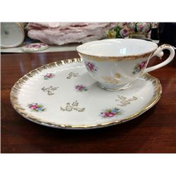 """VINTAGE 6 PIECE CHINA SNACK SET, SET OF 3  7 1/4"""" PLATES & 3 CUPS 2""""T X 3 3/4"""" DIA."""
