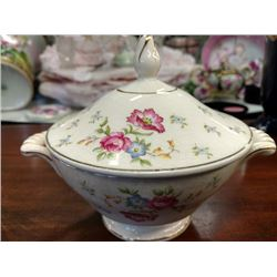 VINTAGE SUGAR BOWL W/LID, SEMI-VITREOUS CHINA BY EDWIN M. KNOWLES CHINA CO.