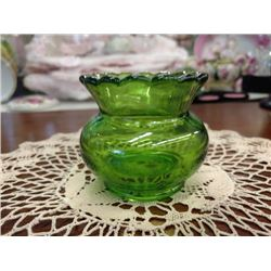 ANTIQUE EAPG TOOTHPICK HOLDER, GREEN GLASS